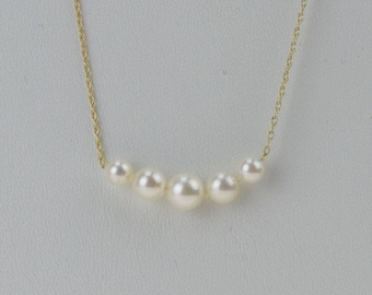 14k Yellow Gold Vintage Estate 6.2 Mm 5/five Pearl Necklace(01231)