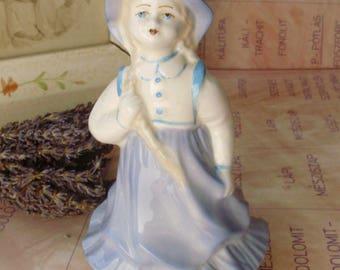 Vintage Soviet Russian porcelain figurine, little girl ,handpainted,stamped,фарфоровая статуэтка