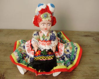 True Vintage  Hungaian doll  figurine,plastic doll in handmade traditional cloth