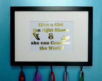 Running Medal Holder Frame, Give A Girl The Right Shoes, Running Quote, Foil Print, Runner Gift, Medal Display, Medal Hanger