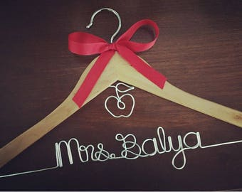 Teacher Gift! Personalized Wire Hanger - Name and Apple - Teacher GIFT