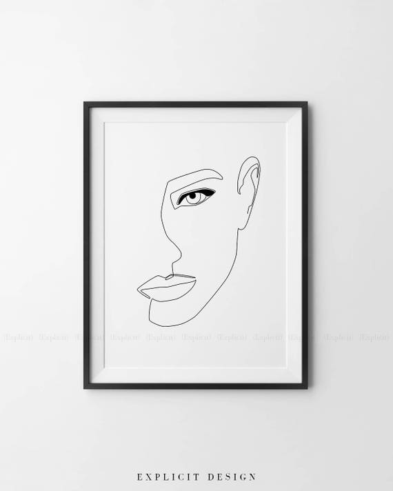 Single Line Unicode Art : Abstract female face printable minimalist woman art one line