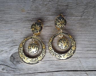 Vintage Damascene Drop Earring-Damascene Enamel and Gold Earrings-Vintage Spanish Earring-Vintage Toledo Gold Earring-Vintage Bird Motif