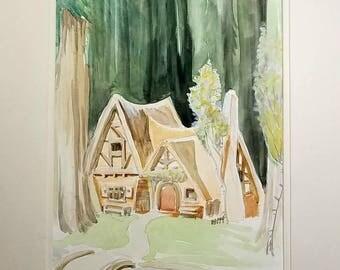 8x10 Disney Snow White Cottage Original Watercolor Painting