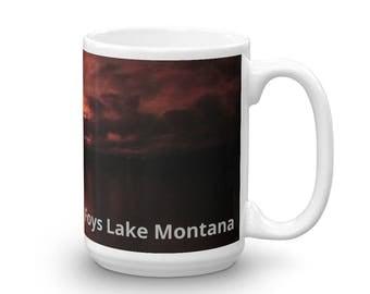 Red Sunset, Coffee Mug, Foys Lake, Montana, Made in the USA, Two Sizes, Montana Souvenir, Souvenir Mug, Kalispell Montana, Montana Sunset
