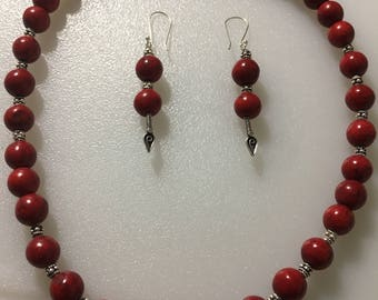 Red Sponge Coral Necklace & Earrings