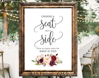 Choose a Seat not a Side Sign, Welcome Wedding Sign, Choose a Seat Sign, Pick A Seat Not A Side Sign, Instant Download, #A047