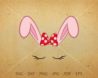 Bow Bunny Face Svg, Eyelash Rabbit Face SVG, Rabbit Birthday Svg Silhouette Cricut Cut Files  (svg, dxf, eps, png, jpg, pdf)