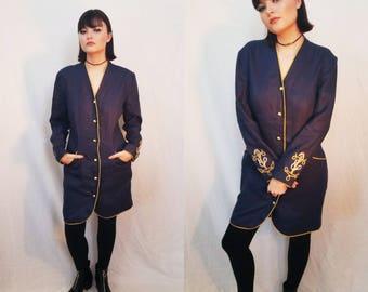 60s Navy Coat Dress. Linen Dress. Mod Dress. Sailor Dress. Knee Length. Gold Anchors. Button dress. Size Medium.