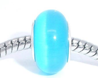 European bead in Œil cat approx. silvery blue 14mm round