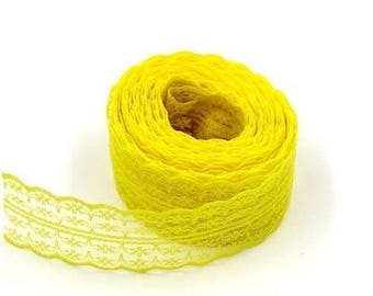 1 45 mm yellow embroidered tulle lace trim Ribbon