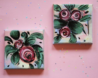 Series of small acrylic paintings with flowers