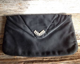 Vintage Black Envelope Style Clutch with Rhinestones detailed bridal/wedding/formal/special occasion