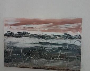 Mixed Media 30 x 40 cm unique acrylic abstract Krakeliertechnik Art 40 x 60 cm Krakelieren cracks