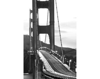"Black & White San Francisco Wall Art | ""Golden Gate Bridge Light Trails"" | San Francisco Photo | Golden Gate Bridge Art - SF Photography"