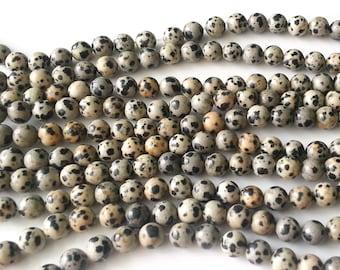 Dalmatian jasper beads - jasper beads - 8mm beads - round beads - gemstone beads