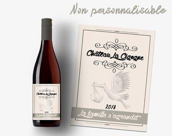 """Etiquette bouteille vin ou champagne """"La famille s'agrandit !"""""""