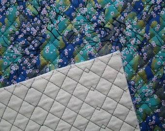 Coupon 48 x 52 cm Japanese fabric quilted sakura Gold - Green