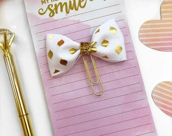 Gold and White Planner Clip / Planner Paper Clip / Planner Bow Clip