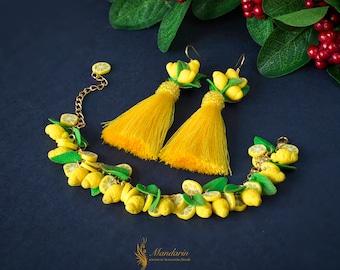 Bracelet with lemons - earrings with lemons - earrings brush made with lemons - lemons citrus