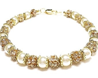 Pearls Go Bling~ Handmade Beaded Bracelet~Pearls & Gold Rhinestone Balls~ 18K Gold Filled Clasp~ Bridal Special Occasion