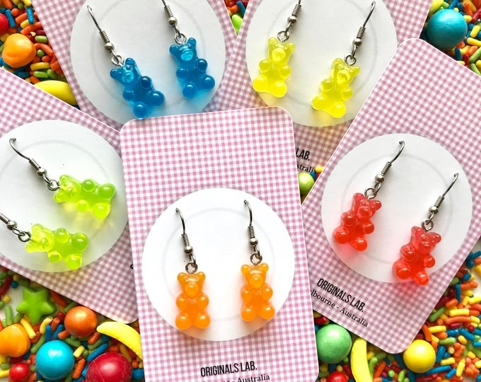 Gummy Bear Earrings with Surgical Stainless Steel Earrings - Rainbow Colours!