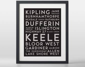 Toronto West City Streets Typography Art Print