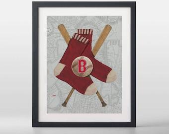 Boston Red Sox-inspired Baseball Art Print