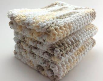 Neutral Crocheted Washcloth / Cotton Dishcloth / Beige Wash Cloth / Tan Dish Cloth / Dish Rag / Cotton Washcloth / Farmhouse Dishcloth