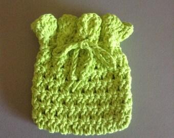 Crocheted Gift Bag/Potpourri Bag - Lime Green  (0603)