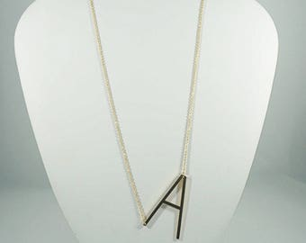 Stainless Steel BIG Letter Necklaces. WHITE.