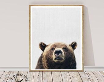 Bear Digital Print - Woodland Animal Wall Art, Square Wall Art, Peekaboo Print, Bear Poster, Bohemian Prints , Bear Photo, Colour Photo
