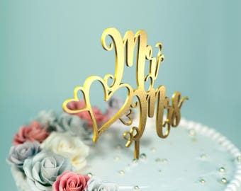 Mr Hearts Mrs  ~ Wedding Cake Topper ~ Wedding Cake Decor ~ Designed and made in California D-7