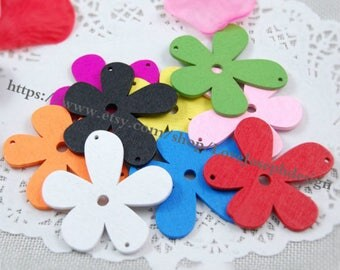 wholesale 50pieces Colorfull hollow Flower wood 54mmx57mm earring hollow Flower Wooden connector Charms(#0412)