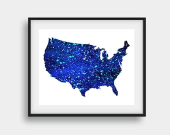 Us map poster Etsy