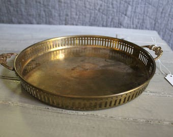Floral Handle Brass Tray