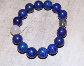 Lapis Lazuli Stones Centered Rose Quartz Elastic Bracelet with Silver Buddha Charm