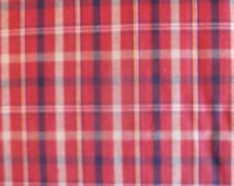 Berry, Navy, And Beige Plaid Fabric