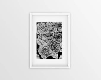 Rose Print / Botanical Illustration / Art Print / A4