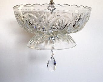 Vintage Glass Bird Feeder