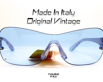 Occhiali da sole uomo donna vintage mascherina quadrata lente azzurra Rimless Sunglasses woman man blue light style mask Made in Italy