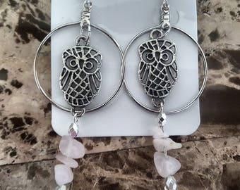 Rose Quartz Stone Owl earrings