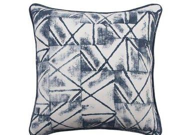 Indigo Khadi hand Printed Handwoven Cotton  Cushion Cover, Indigo hand Printed Handwoven Cotton Khadi Pillow Cover, Block Printed pillow