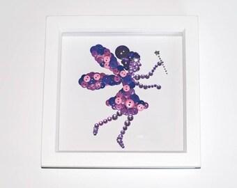 Button Art Fairy, Plum Fairy, Magical Fairy, Mystical Fairy, Tooth Fairy, Sleep Fairy, Fairy Magic, Nursery Wall Art, Wall Art, Framed Art
