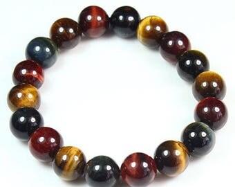 145.1CT 100% Natural African Tigereye Yellow Bead Bracelet BHY361