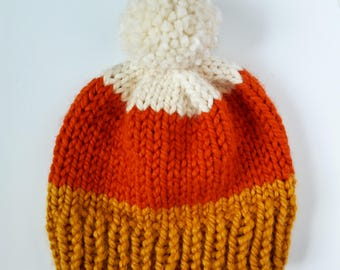 Candy corn beanie, kids candy corn hat, mommy and me halloween hat, unisex candy corn hat, fun halloween hat, pom candy corn hat