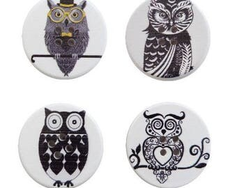 4 round wooden buttons sewing, children, 3 cm OWL III scrapbooking