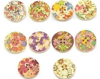 10 round wooden buttons sewing, children, 3 cm flowers scrapbooking