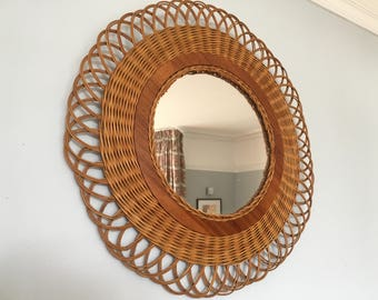 Vintage French Rattan/Wicker Braided Mirror Sun/Flower Shape 1960s