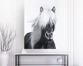 Horse Print , Black and white photography , fine art , scandinavian , wall art , Farm Animal Print, Nursery Animal Photo, Woodlands Poster